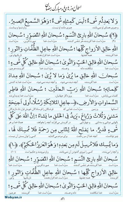 مفاتیح مرکز طبع و نشر قرآن کریم صفحه 521