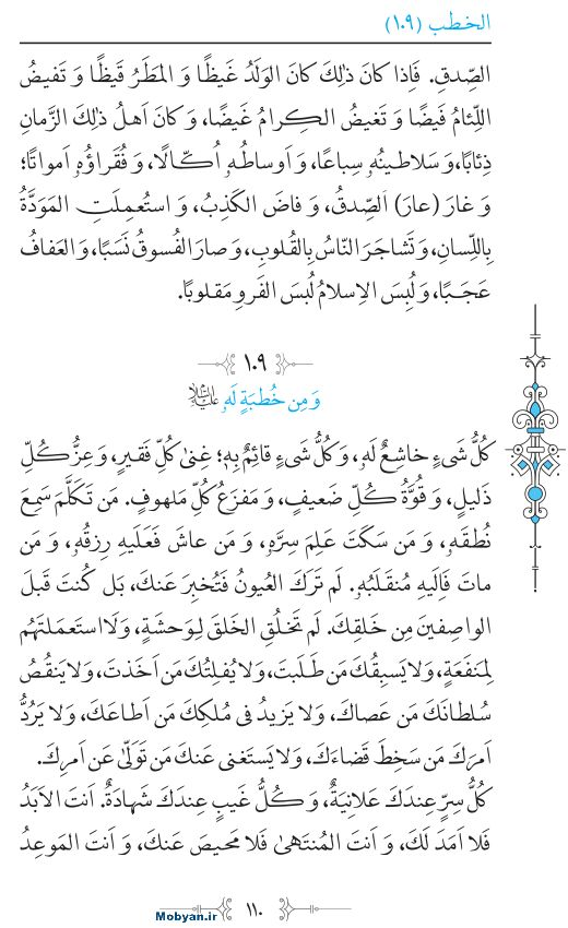 نهج البلاغه عربی مرکز طبع و نشر قرآن کریم صفحه 110