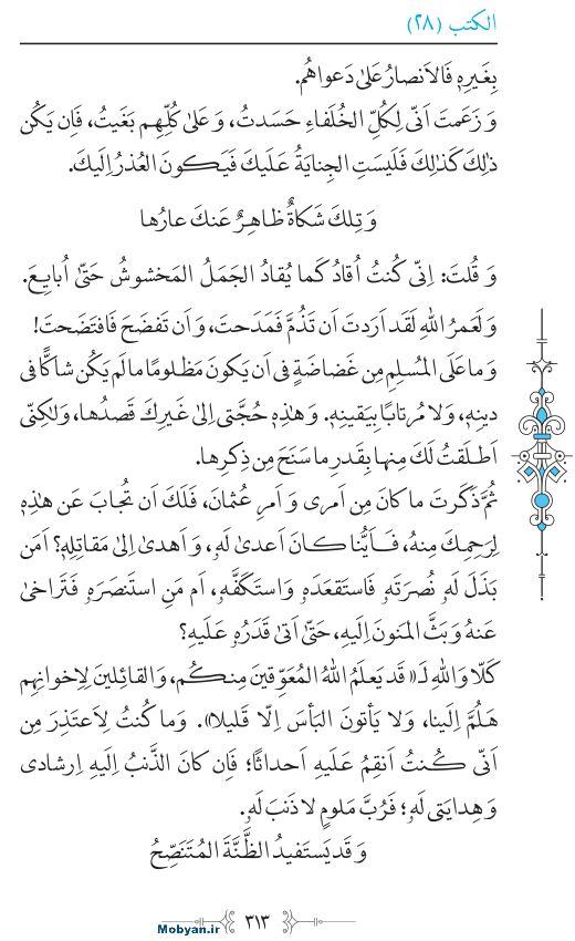 نهج البلاغه عربی مرکز طبع و نشر قرآن کریم صفحه 313