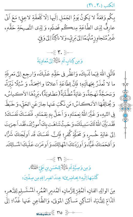 نهج البلاغه عربی مرکز طبع و نشر قرآن کریم صفحه 315