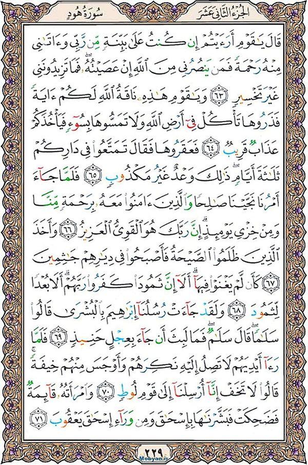 قرآن  عثمان طه با کیفیت بالا صفحه 229