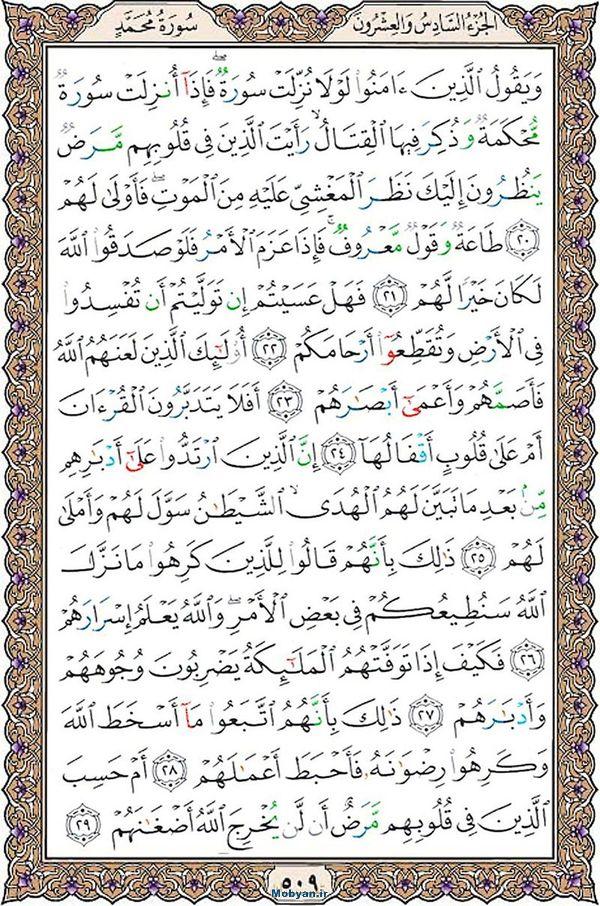 قرآن  عثمان طه با کیفیت بالا صفحه 509